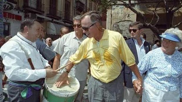 George H. W. Bush en la Feria de Málaga aquella jornada