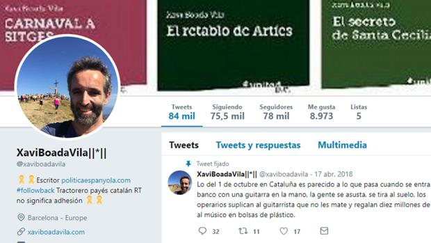 El tuitero Xavi Boada en su perfil de Twitter