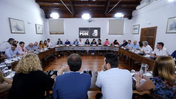 Susana Díaz presidiendo la Comisión Ejecutiva Regional del PSOE celebrada este lunes