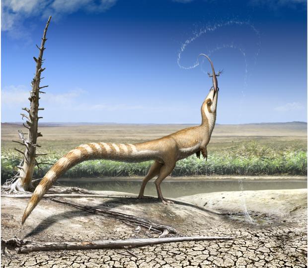 Sinosauropteryx, en el hábitat abierto en el que vivió hace 130 millones de años en el Cretácico Inferior