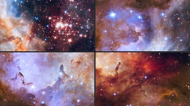 Imágenes captadas por el telescopio espacial Hubble del cúmulo estelar Westerlund 2