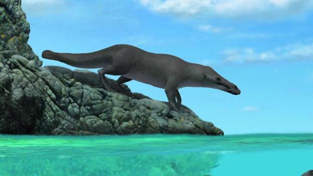 Recreación de la antigua ballena encontrada en Perú
