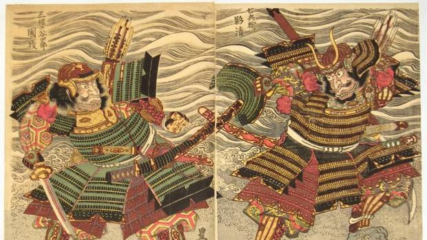 Ilustración del «Heike monogatari» o «Cantar del Heike», de finales del siglo XII