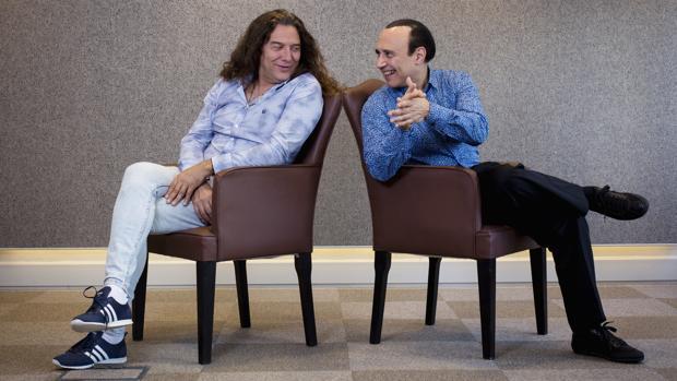 Tomatito (derecho), junto a Michel Camilo, en la presentación de «Spain Forever»
