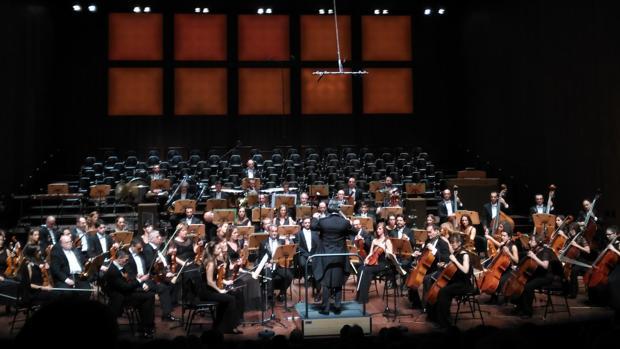 Imagen del comienzo del primer concierto de temporada, ayer en El Escorial