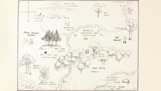 El mapa original del Bosque de los Cien Acres, obra de Ernest Howard Shepard