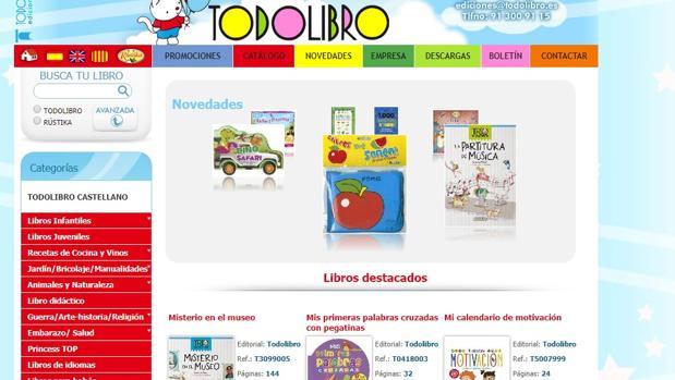 Pantallazo de la página web de Todolibro, editorial de los libros infantiles denunciados por FACUA