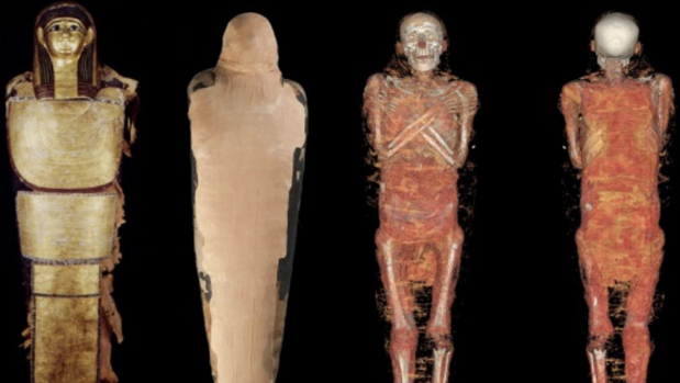 Composición de cuerpo entero de Nespamedu, con cartonaje y vendaje