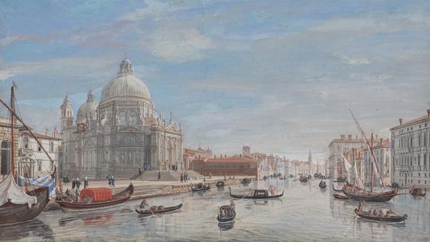 «Santa Maria della Salute a la entrada del Gran Canal», gouache de 1722