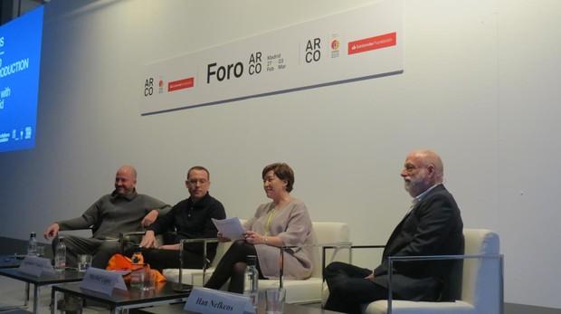 De izquierda a derecha, Manuel Segade, Alejandro Cesarco, Maribel López y Han Nefkens, en la rueda de prensa de hoy en Ifema