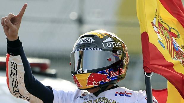 Márquez, durante la celebración del título mundial de 2013