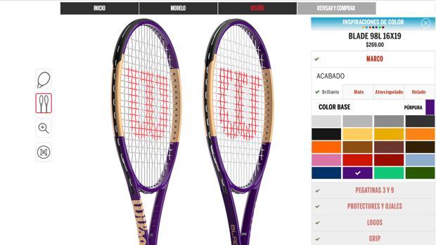 Imagen de la herramienta para personalizar la raqueta