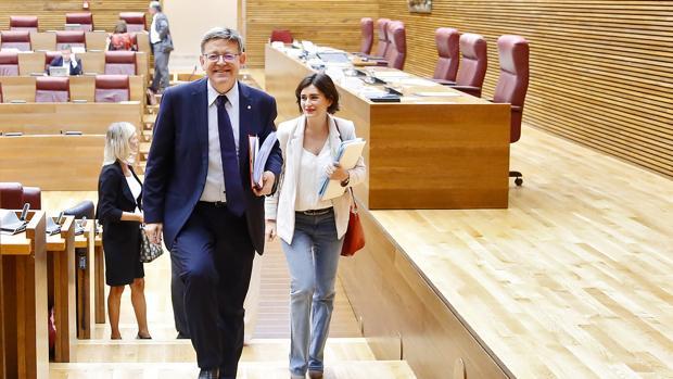 Ximo Puig y Carmen Montón, en las Cortes, en una imagen de archivo
