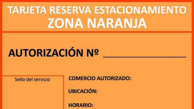 Tarjeta de aparcamiento para la zona naranja