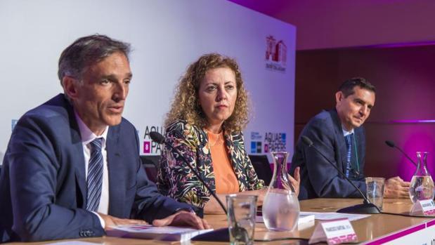 Bartual, Martínez y Olcina, en la presentación del número 8 de «Aquae Papers»