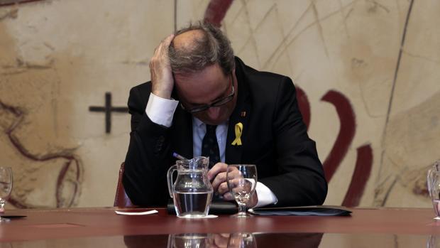 El presidente catalán en el Palau de la Generalitat