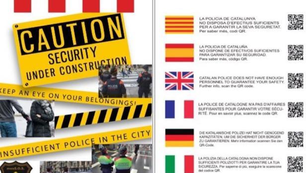 Imagen del documento entregado a los turistas de Barcelona