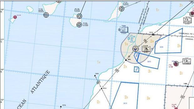 Desde Canarias se controla aproximaciones a los aeropuertos de El Aaiún y Dakhla (en gris y a baja altitud, Rabat)
