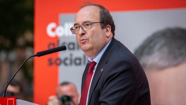 Miquel Iceta, en un acto del campaña del PSC, la semana pasada