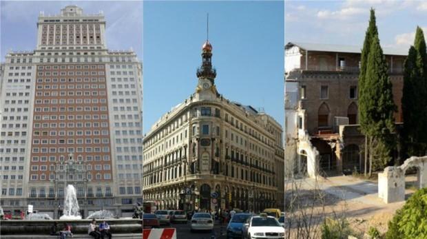 De izquierda a derecha, Edificio España, Manzana de Canalejas y Convento de las Damas Apostólicas
