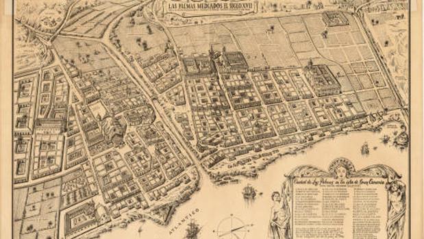 Ciudad de Las Palmas de Gran Canaria (vista parcial-mediados el siglo XVII)