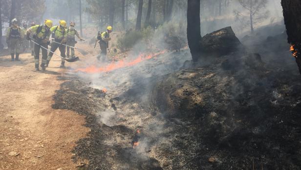 Imagen de las labores de extinción del fuego en Gavilanes (Ávila)