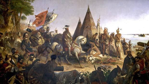 El conquistador Hernando de Soto descubre el Misisipi en 1541, por W.H. Powell