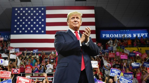 El presidente Trump, durante un mitin en Tennesse, este lunes