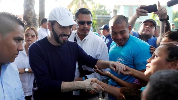 El candidato de GANA, Nayib Bukele, en San Luis Talpa