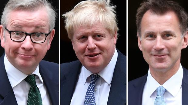 De izquierda a derecha, Michael Gove, Boris Johnson y Jeremy Hunt