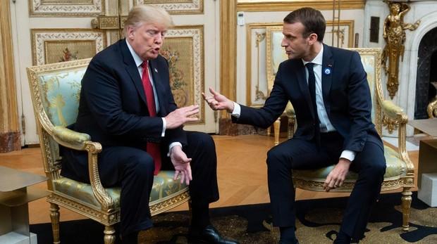 El presidente Trump con Macron, durante una visita al Elíseo, en París