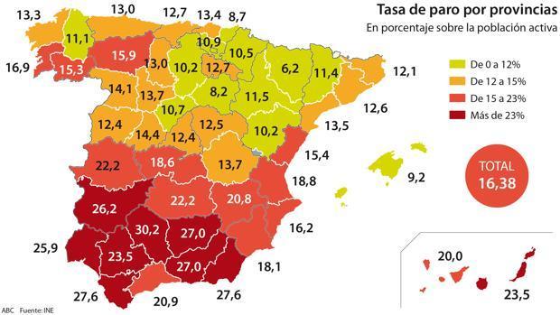 Mapa de la tasa de paro en España correspondiente a los últimos años de la crisis