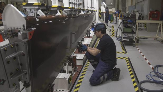 Trabajadores de la planta de Airbus en Puerto Real.