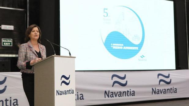 La presidenta de Navantia, Susana de Sarriá, durante la presentación en Cádiz del Plan Estratégico de la compañía